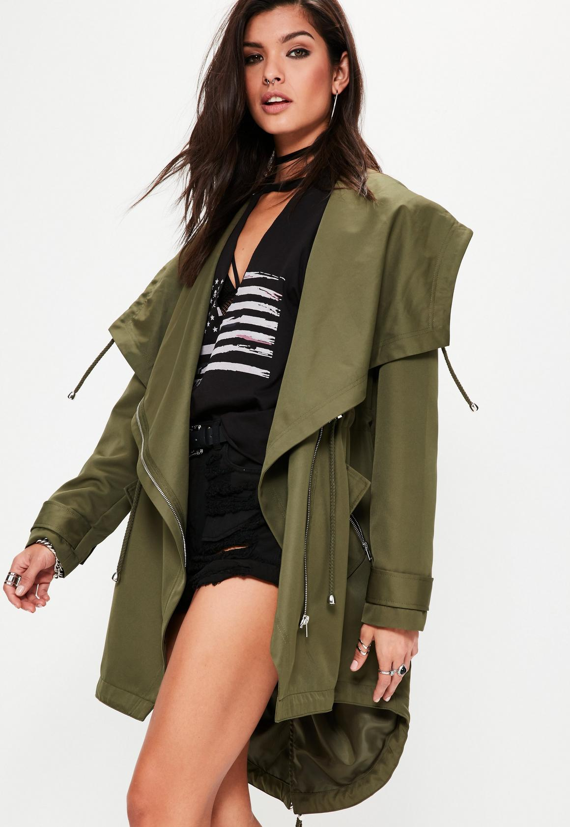 Khaki Waterfall Parka Jacket | Missguided