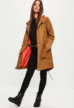 Khaki Contrast Lining Parka Jacket