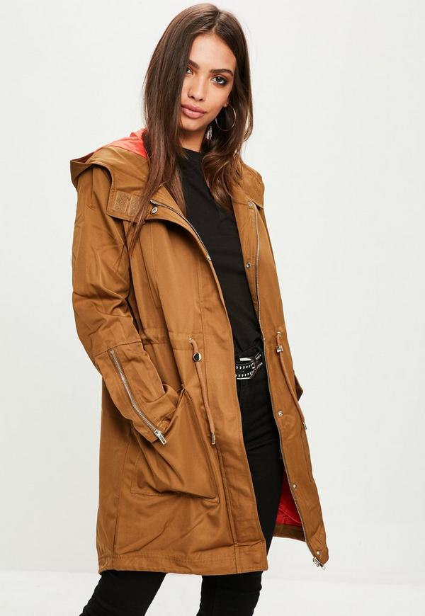 Khaki parka orange lining