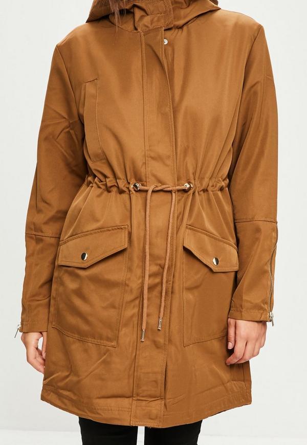 Khaki Contrast Lining Parka Jacket | Missguided