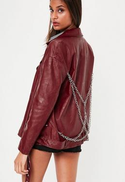 Red Chain Detail Biker Jacket
