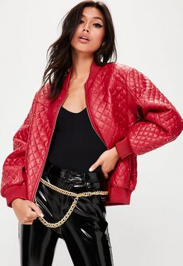 Red Quilted Studded Bomber Jacket