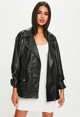 Czarna skórzana kurtka Premium