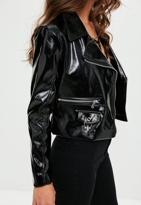 How To Clean Leather Jacket >> Black Patent Faux Leather Biker Jacket | Missguided