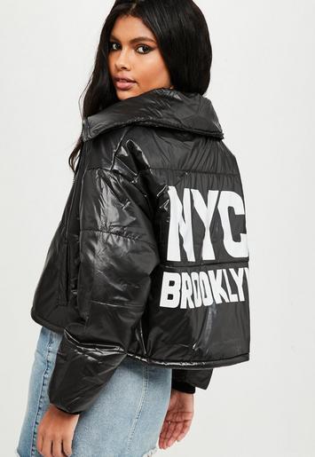 Black High Shine Puffer Jacket Missguided