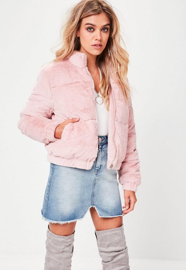 pink faux fur puffer jacket missguided. Black Bedroom Furniture Sets. Home Design Ideas
