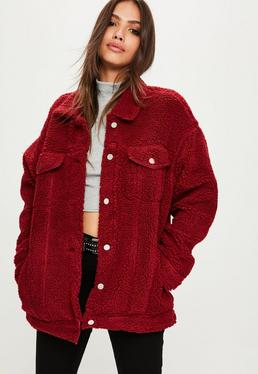 Burgundy Oversized Borg Trucker Jacket