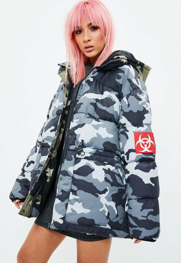 Grey Camo Puffer Jacket Missguided