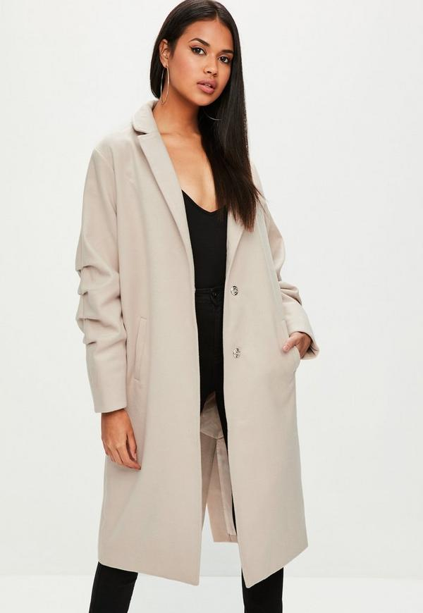 Nude Ruched Sleeve Longline Coat by Missguided