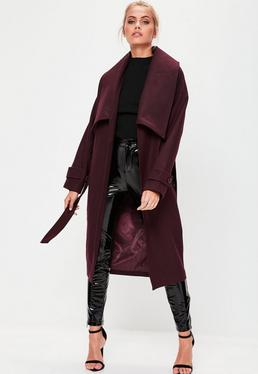 Premium Burgundy Belted Waterfall Coat