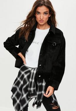 Black Faux Pony Hair Oversized Trucker Jacket