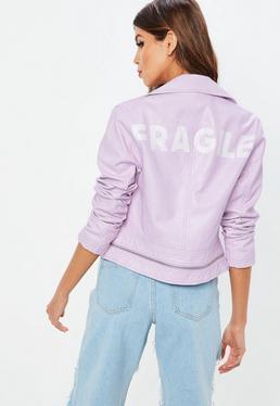 Lilac Faux Leather Slogan Jacket