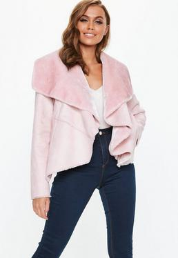 Pink Waterfall Faux Shearling Jacket