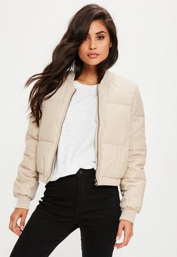 Nude Faux Leather Puffer Jacket