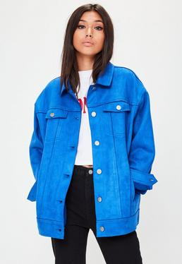 Oversize Kunst-Wildleder Jacke in Blau