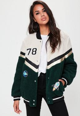 Cream Varsity Bomber Jacket