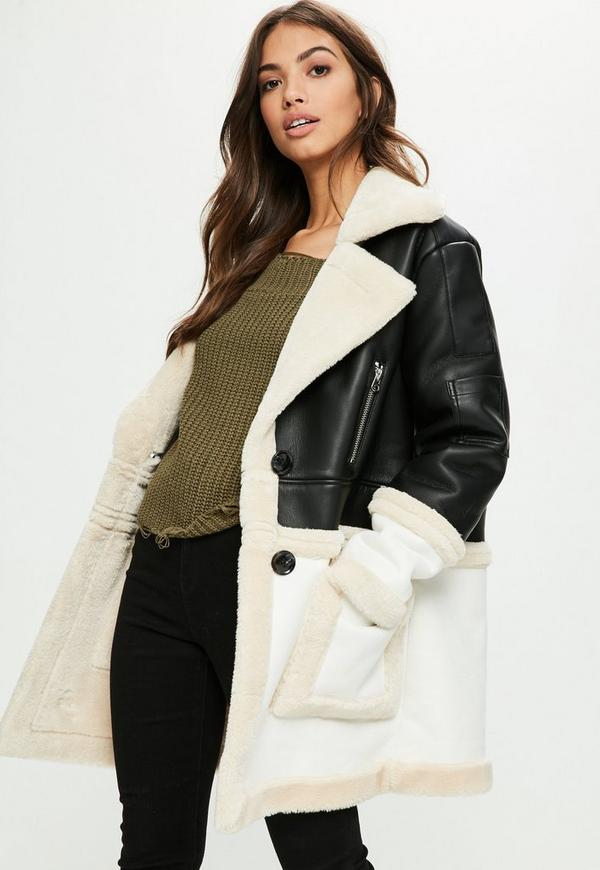 Faux leather shearling jacket black