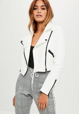 White Cropped Faux Suede Jacket