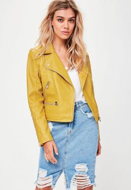 Yellow Biker Quilted Hem Jacket