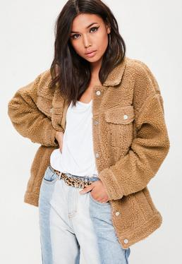 Tan Oversized Borg Trucker Jacket