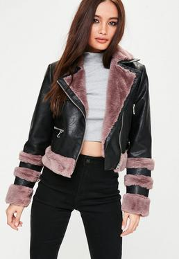 Pink Faux Fur Trim Biker Jacket