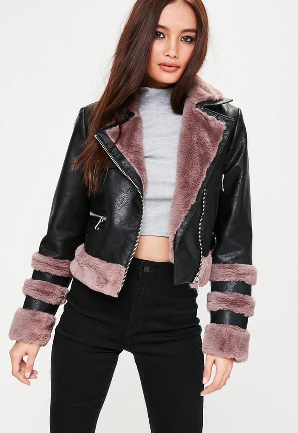 Pink Faux Fur Trim Biker Jacket Missguided