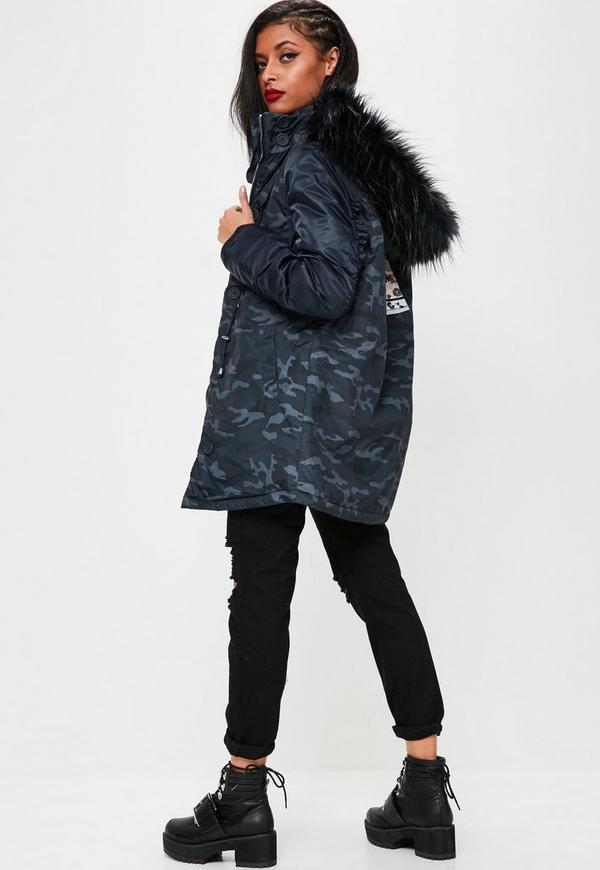 Navy Camouflage Printed Hooded Parka Jacket | Missguided Ireland