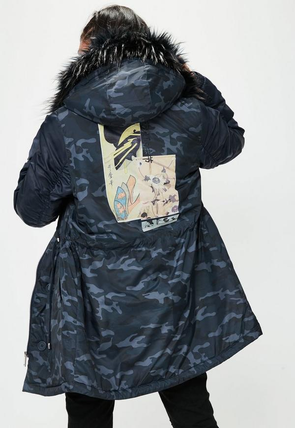Navy Camouflage Printed Hooded Parka Jacket | Missguided