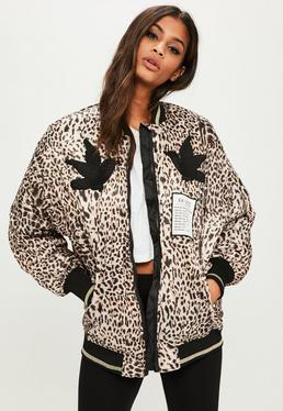 Brown Animal Print Bomber Jacket