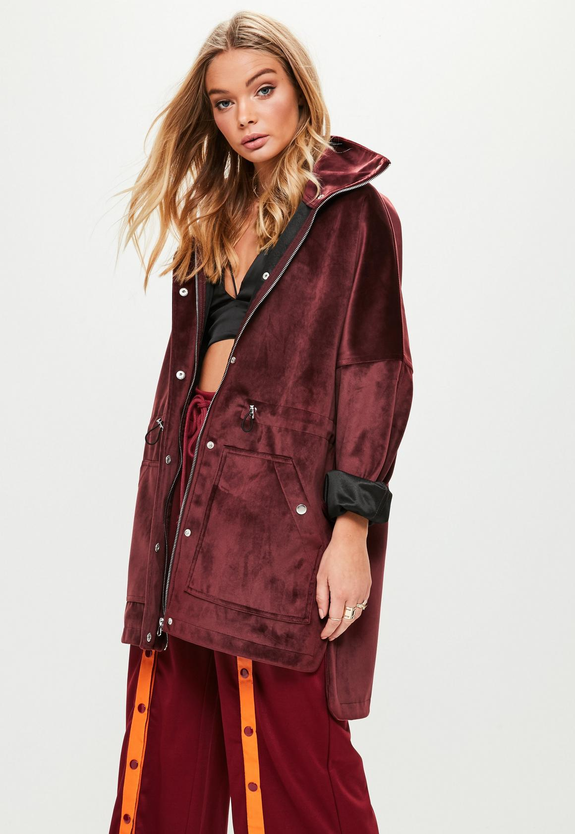 Burgundy Bonded Parka Jacket | Missguided