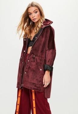 Burgundy Bonded Parka Jacket