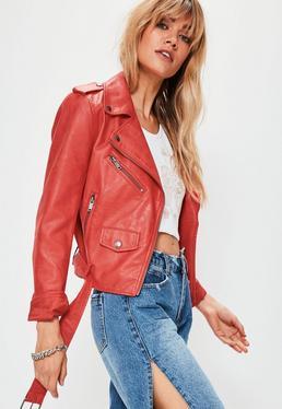 Rote Faux-Leder Biker Jacke