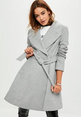Gray Belted Short Wool Skater Coat