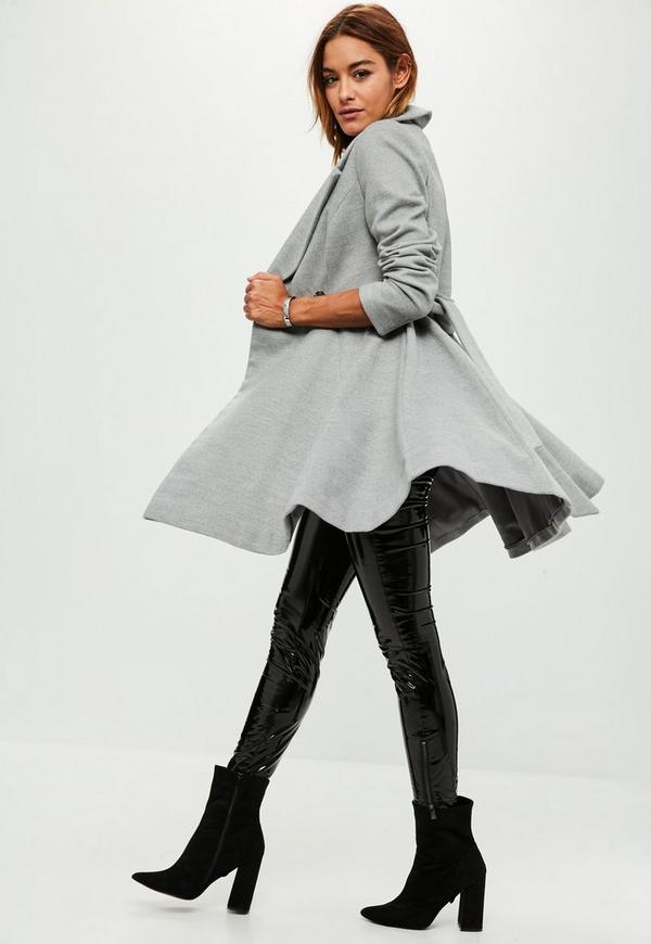Grey Belted Short Wool Skater Coat | Missguided Ireland