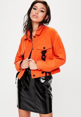 Orange Lace Up Detail Trucker Jacket