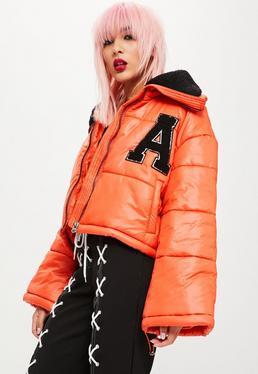 Orange Super Cropped Puffer Jacket
