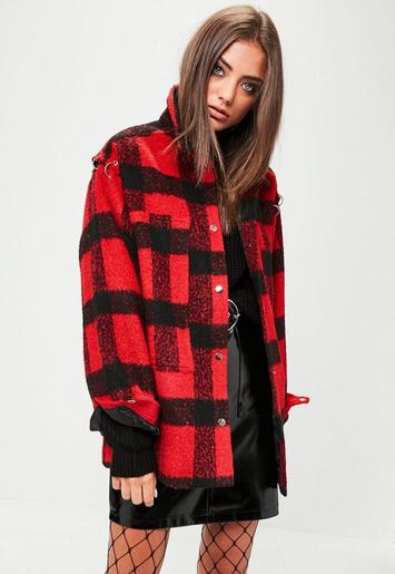 Red Oversized Check Trucker Jacket | Missguided
