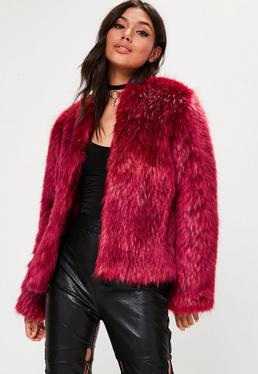 Red Premium Tipped Faux Fur Coat