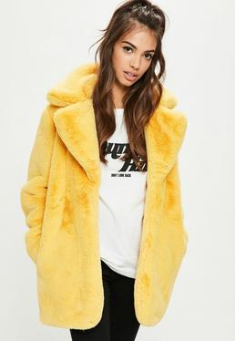 Yellow Faux Fur Coat With Collar