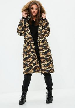 Brown Camo Hybrid Padded Jacket