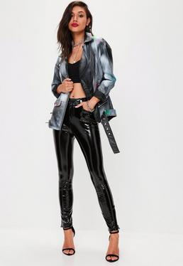 Black Faux Leather Spray Paint Jacket