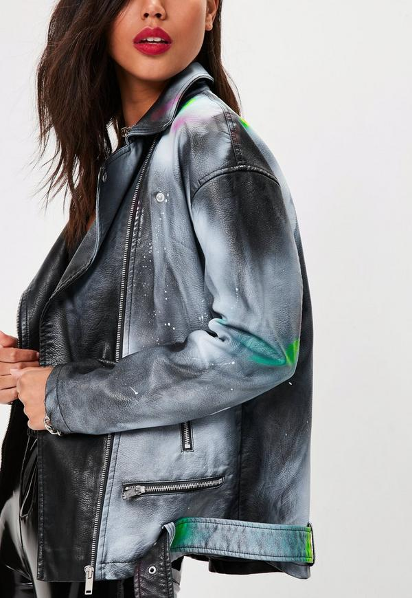 black faux leather spray paint jacket missguided. Black Bedroom Furniture Sets. Home Design Ideas