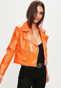 Orange Crop-Bikerjacke aus Faux-Lack-Leder