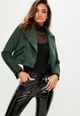 Green Crop Faux Suede Biker Jacket