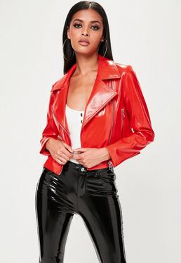 Red Cropped Patent Biker Jacket