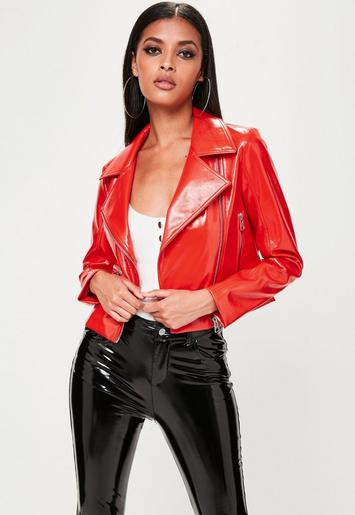 Red Vinyl Biker Jacket Missguided