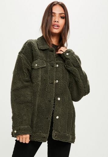 Missguided Khaki Oversized Borg Trucker Jacket