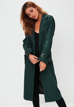 Green D Ring Cuff Trench Coat