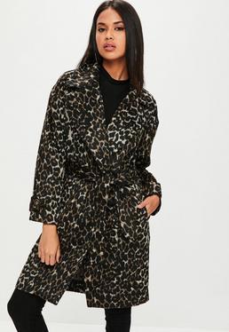 Manteau marron imprimé léopard avec ceinture