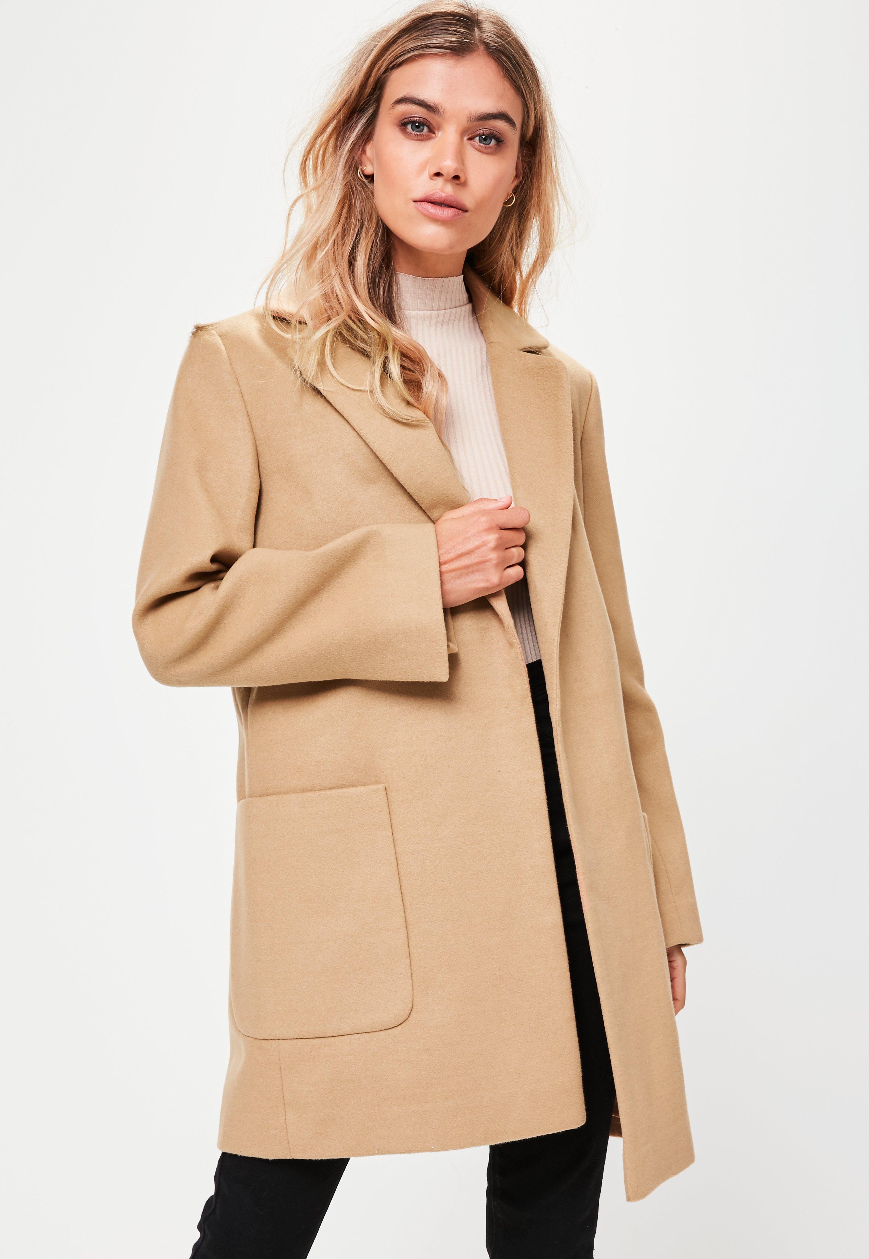 tan slim fit coat missguided